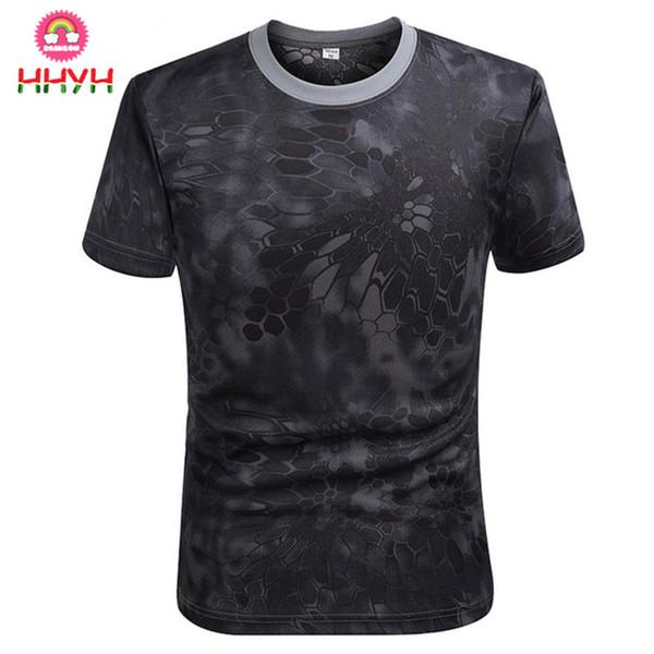 Camiseta de running Moda al aire libre Dry Fit Transpirable Ejército Verde Hombres Militares Deporte Camo Tees-CP Manga corta Gimnasio Camisas deportivas O-cuello Tops