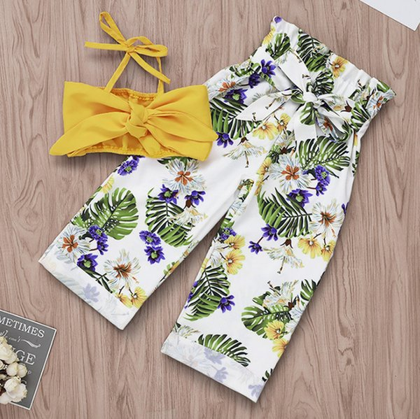 INS Baby girls Bows suspender tank top+floral leaves printed elastic high waist pants 2pcs sets summer kids beach princess outfits F4710