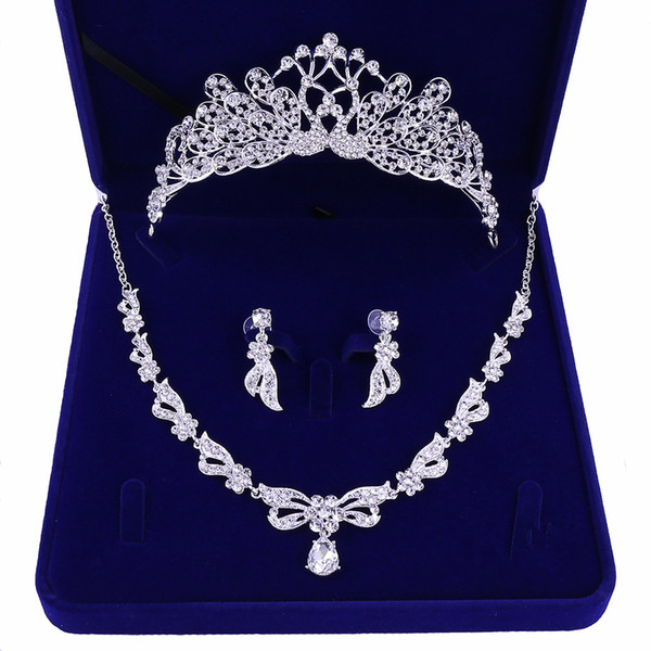 Paon Mariage Corbeaux Accessoires De Mariage Accessoires De Bijoux De Demoiselle D'honneur Accessoires De Mariage Set Avec Boîte (Couronne + Collier + Boucles D'oreilles)