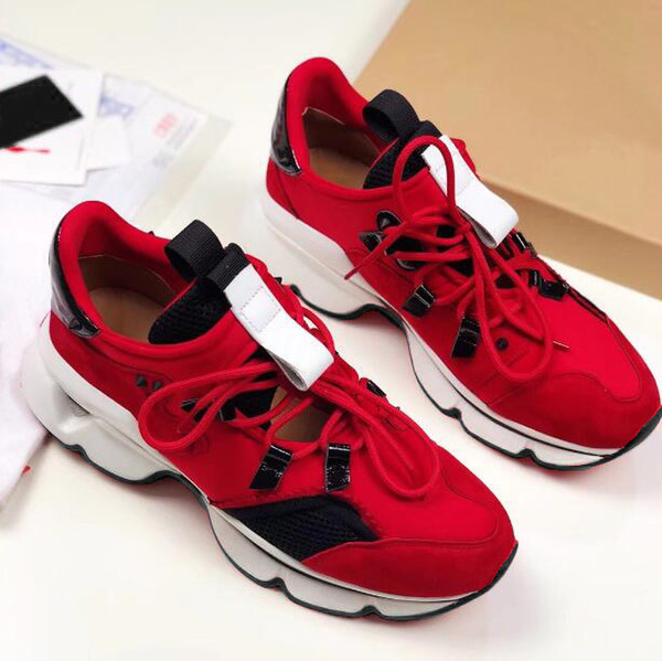 2019 Chain Reaction Designer Shoes Men Women Sneakers Snow Leopard bottom is red Mesh Rubber Leather fashion women Casual shoes