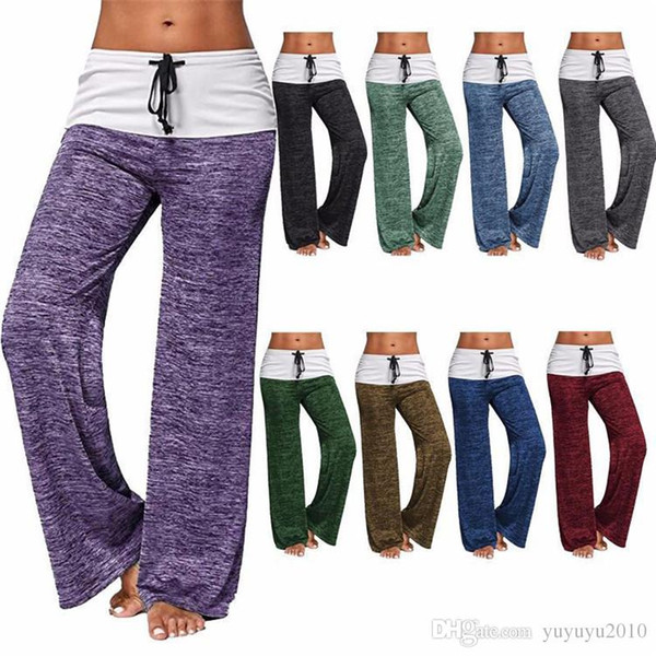 Causal Women Autumn Flower Print Pants 2018 Drawstring Wide Leg Pants Loose Straight Trousers Long Female Plus Size Trousers 180623