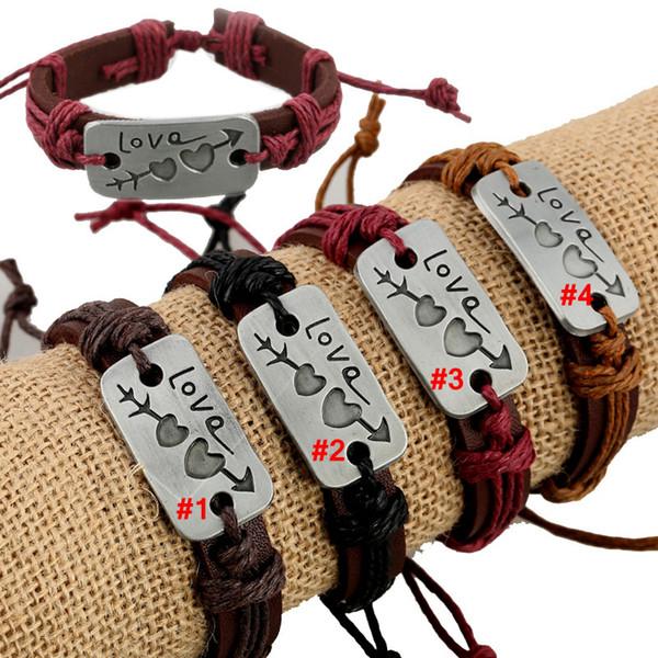 Amoureux Bracelet Charme Double Coeur Amour Bracelet En Cuir De Mode Pas Cher Couple Bijoux Pour Hommes Femmes Accessoires De Mode AAA2026