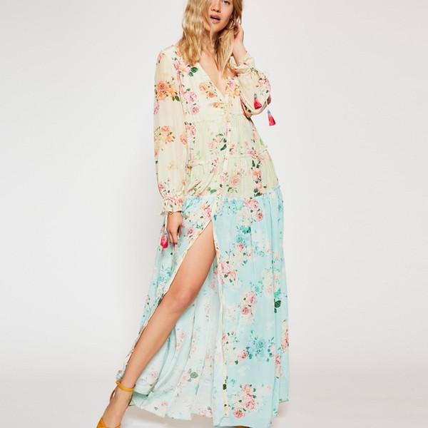 großhandel frauen gemischt floral maxi dress v-ausschnitt taste boho chic beach lange kleider rüschenbesatz lässig chiffon dress vestidos 2019