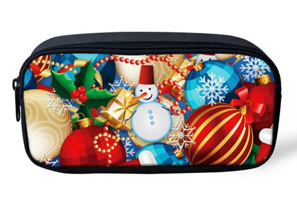 Christmas Balloons 3D Print Children Pencil Pouch Casual Storage Bag for Kids Girls Travel Women Make Up Cosmetic Bag VC39