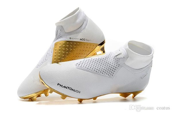 2019 New Arrivaled White Gold Wholesale Soccer Cleats Ronaldo CR7 Original Soccer Shoes Phantom VSN Elite DF FG Football Boots