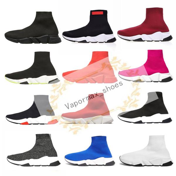 2019 Speed Trainer Nero Rosso Bianco piani Calze di lusso Scarpe ragazza della piattaforma di modo pattini casuali degli uomini del progettista delle donne delle scarpe da tennis Taglia 36-45