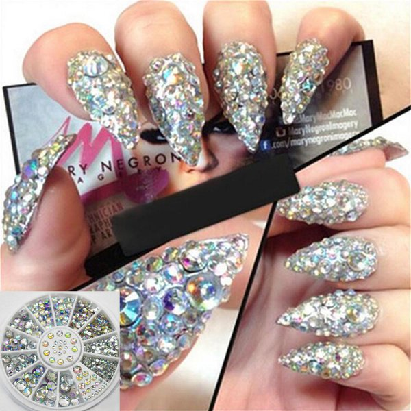 1 Box Nail Art Rhinestones Glitter Diamond Gems 3D Tips DIY Decoration Wheel Mixed Size Nail Crystal Accessories for Women Girls
