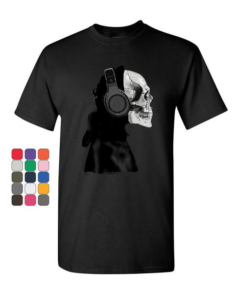 Skeleton in Headphones T-Shirt DJ Music Skull Tee Shirt Style Round colour jersey Print t shirt