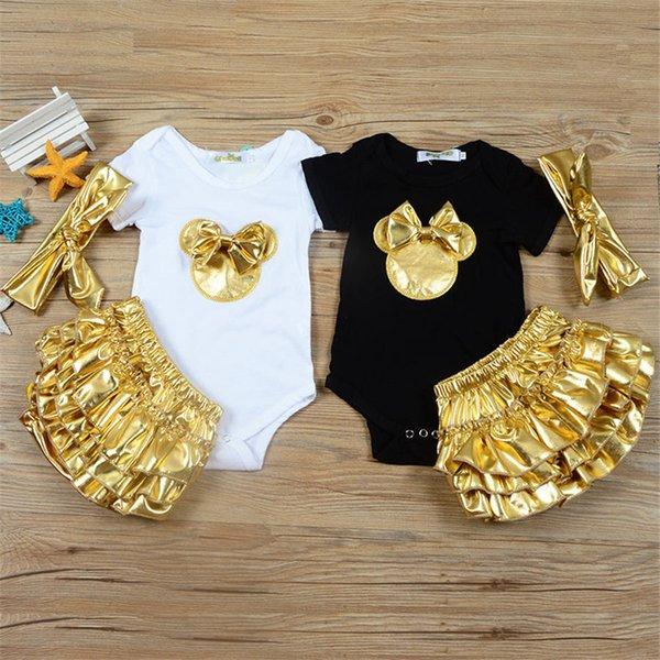 Bebek Kız Giysileri 3 adet Giyim Setleri Siyah Pamuk Tulum Altın Fırfır Bloomers Şort Bandı Yenidoğan Giysileri
