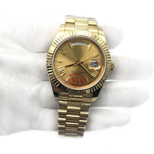 Luxury watches 18K Gold President DayDate Sapphire Cystal Geneva Men Watches Automatic Mechanical Movement Male Wrist Watches