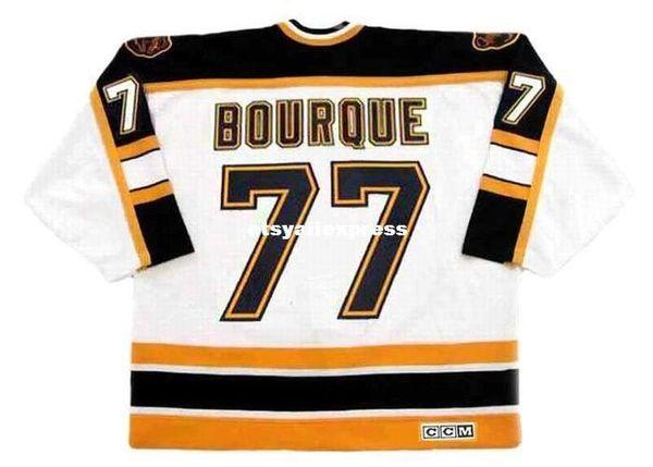 Custom Mens RAYMOND BOURQUE Boston Bruins 1995 CCM maglie Vintage Home economici Retro Hockey Jersey