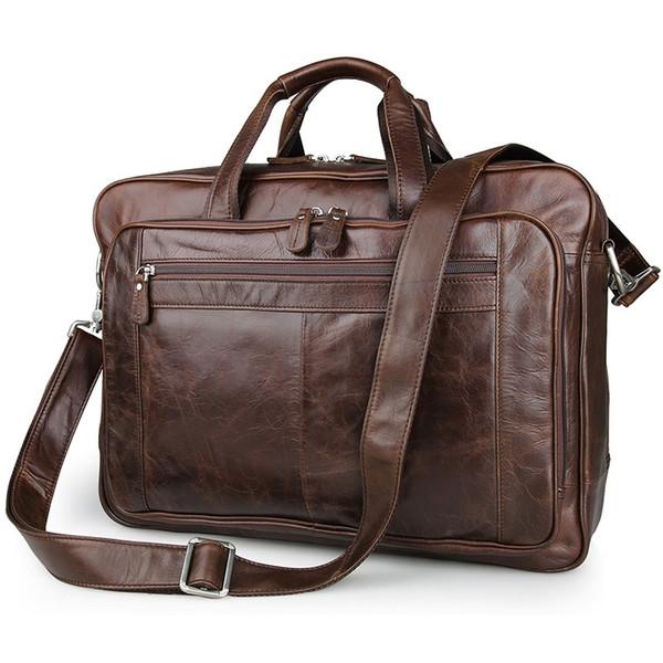 """Luxury Genuine Leather Men's briefcases Business Bag Leather messenger bag shoulder bag For Men 17"""" laptop briefcase #MD-J7320 #159595"""