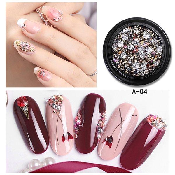 Compre 10 Caja De Diamantes De Imitación Coloridos Mezclados Para Uñas Piedras De Cristal 3d Para Decoraciones De Arte De Uñas Diy Diseño Manicura