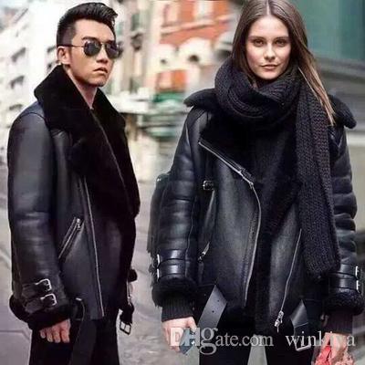 Winter jacket 2019 women men luxury leather pu motorcycle designer jacket fur collar washed leather jackets shearling coat women men jacket