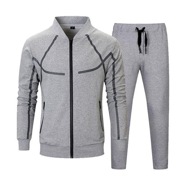 Men Set Casual Autumn Fashion Jacket+Pant 2 Piece Suit Male Clothing Tracksuit Outwear Hoodies Zipper Men's Sportswear Sets 2018