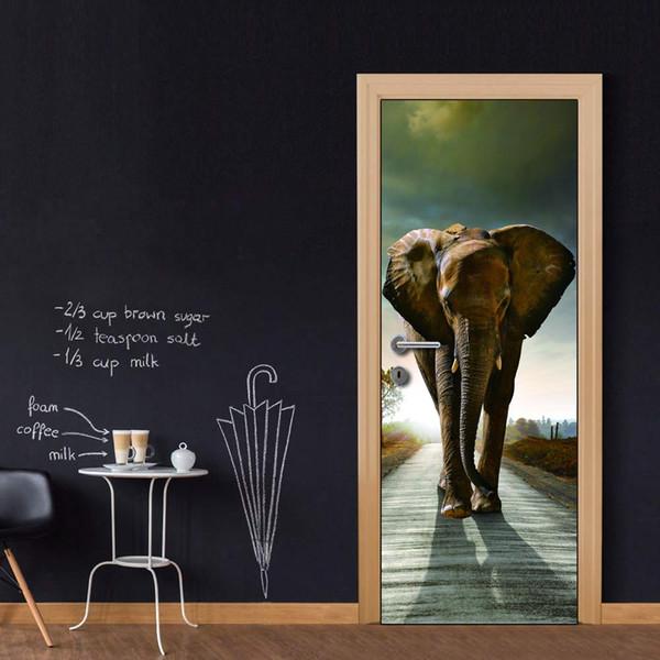 Весь DIY стикер двери слон на дороге дверь наклейки украшения для спальни гостиная обои наклейка аксессуары для дома