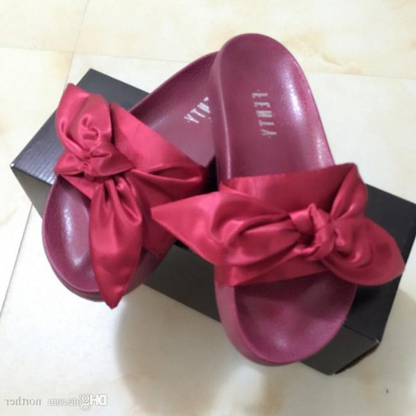 Wholesal Fenty Rihanna Shoes Summer Slippers Women Butterfly Bowtie Indoor Sandals High Quality Non-slip Slide Size 36-41