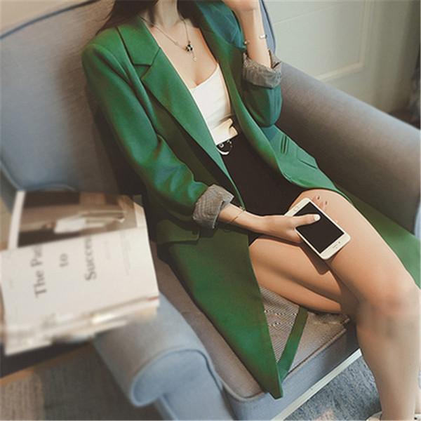 Одна кнопка весна осень тонкий женщины длинный пиджак серый/зеленый / черный 3xl плюс размер груза падения