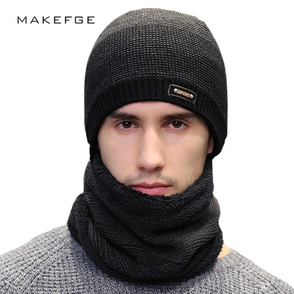 68e6b8a8bd0999 Hot New Fashion Men's Knit Beanies Hat Scarf 2 Pieces Set Winter Plus  Velvet Thicken Soft