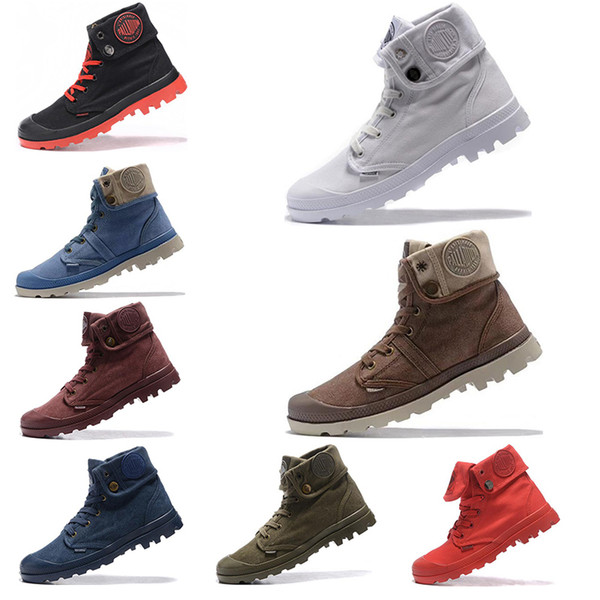 2019 Palladium Pallabrouse мужчины женские сапоги High Army Военные ботильоны Холст кроссовки Человек Anti-Slip дизайнер женщин Повседневная обувь