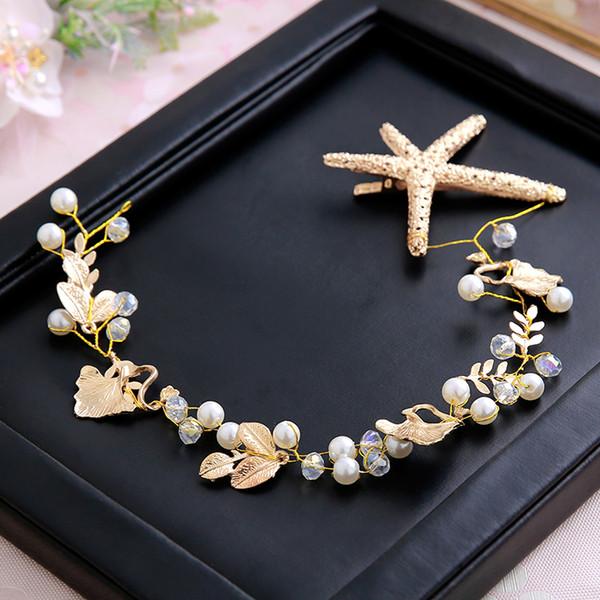 Wedding Prom Bridal Bride Crystal Pearl Starfish Leaf Gold Hair Accessories Tiaras Headpiece Hair Clip Pins Jewelrys