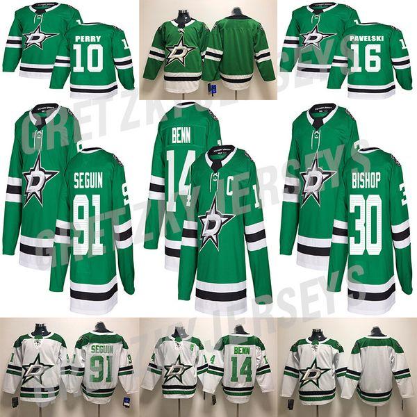 Dallas Stars Jersey 16 Joe Pavelski 14 Jamie Benn 91 Tyler Seguin 30 Ben Bishop Camisetas de hockey cosidas en blanco y verde
