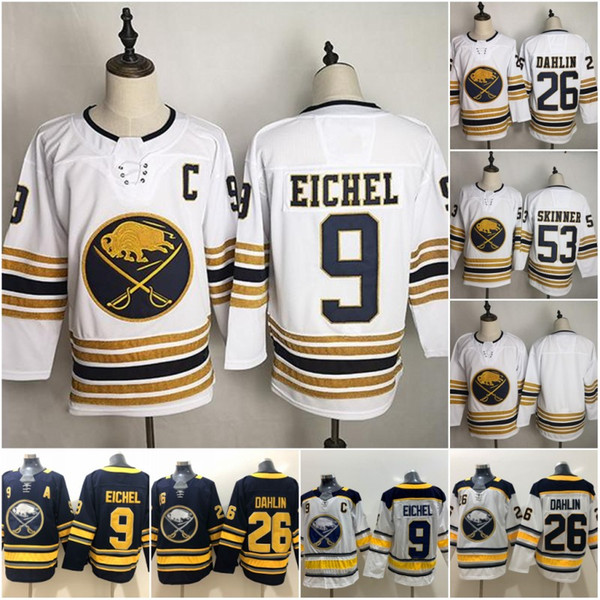 top popular Golden 50th Season Third Buffalo 9 Jack Eichel Sabres Hockey Jerseys 26 Rasmus Dahlin 53 Jeff Skinner 90 Ryan O'Reilly 23 Sam Reinhart White 2019
