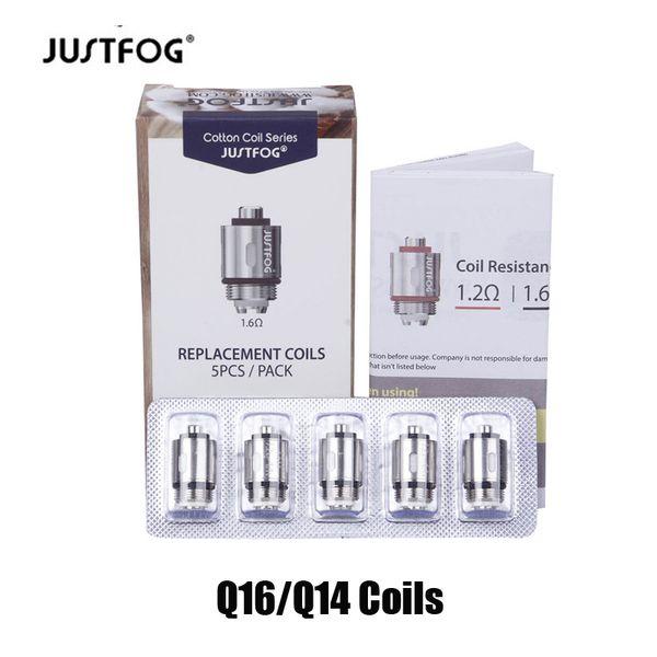 Аутентичные Justfog Q16 C14 Q14 P14A P16C Головка катушки 1.2ohm 1.6ohm Оригинальные сменные хлопковые катушки для Justfog Kit Бак-распылитель 100% подлинный