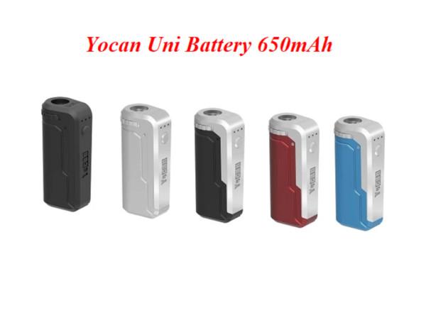 Yocan UNI Box Mod 650mAh Preriscaldare VV Tensione della batteria Variabile Con magnetico 510 Adattatore Da Spesso olio Cartuccia 10 colori per scegliere