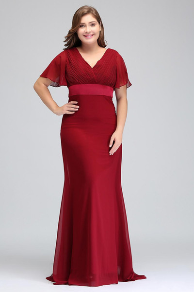 Dark Red Plus Size Occasion Dresses With Short Sleeves V Neck Pleats Chiffon Formal Evening Party Gowns Mother Of The Bride Special Dresses