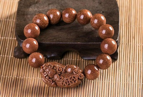 Fine Jewelry A Unique And Fashionable Gold Stone Gem Handmade Beads Loong Pixiu Bracelet Free Shipping