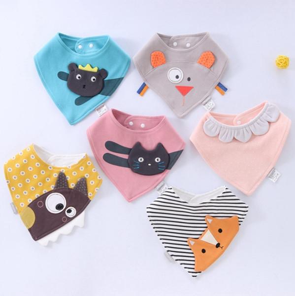 코튼 아기 턱받이 동물 Embroideried 트림 직물 만화 신생아 삼각형 수건 아기 스카프 반다나 폭스 고양이 6 옵션 WZW-YW3904 디자인
