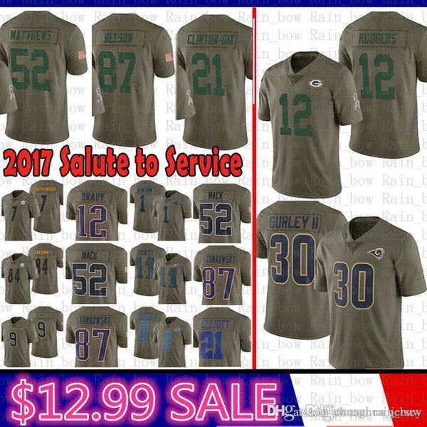 various colors d4f56 2b092 2019 Best Green Bays Packers 2017 Salute To Service Jersey 12 Aaron Rodgers  21 Clinton Dix 52 Clay Matthews St.Louis Rams Nelson 30 Todd Gurley From ...
