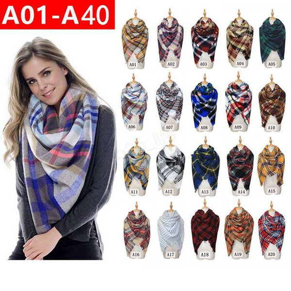 best selling Plaid Scarves Girls Shawl 140*140cm Grid Wraps Lattice square Neck Scarf Pashmina Winter Neckerchief Blankets 40styles LJJA2871