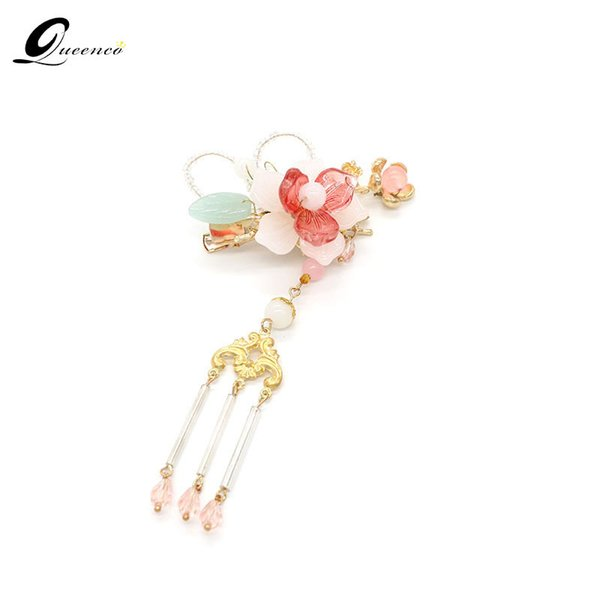 Ethnic Crystal Pink Floral Hair Clip With Long Tassel Barrettes Chinese Style Headpiece Jewelry Hairpin Ethnic Women Accessories C19010501