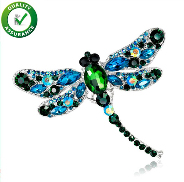 DesignerCrystal Vintage Dragonfly Brooches Women Large Insect Brooch Pin Fashion Dress Coat Accessories Cute Jewelry Shinny Rhinestone Gift