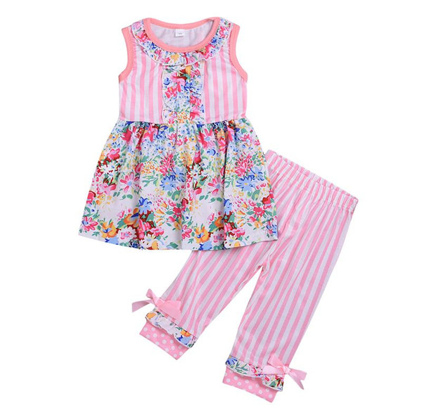 PINK WHITE Strip flower print baby clothes set boutique fly sleeve floral lace ruffle pants fly ruffle shirt dot clothes set