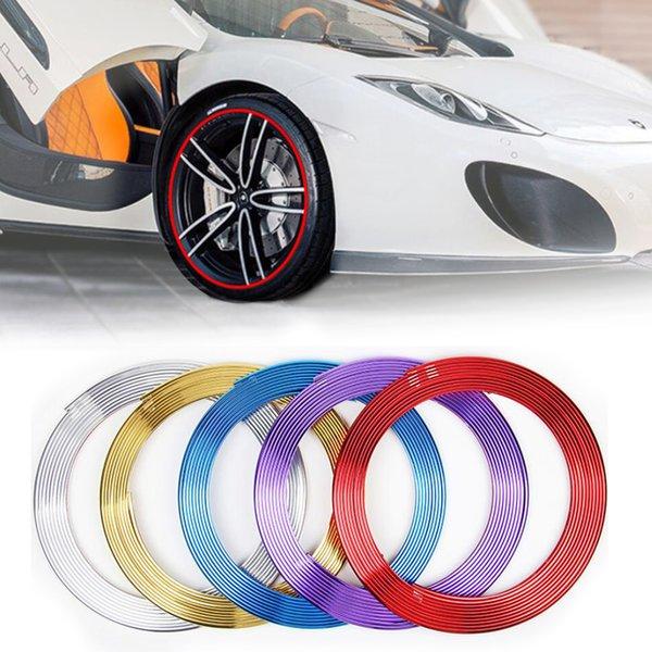8M Car Chrome roda Hub Decoração Moulding guarnição tira de fita Auto DIY Pneu Rim Protective Decal Adesivo Acessórios Universal