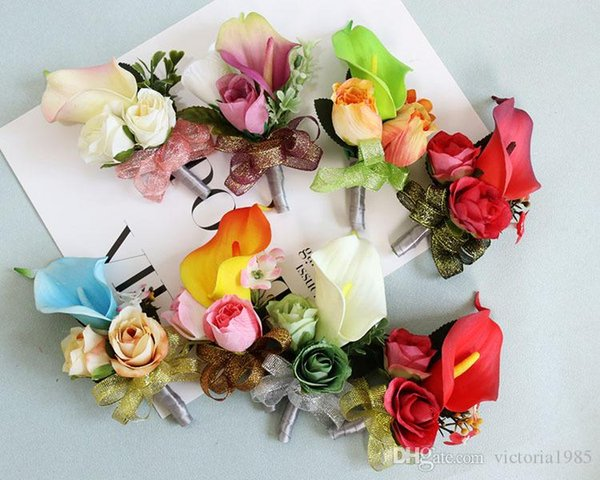 Wholesale women Men's Simulation Silk Rose lily Boutonniere Pin Brooch Wedding Decorations New Flower Groom Corsage Colorful Wrist Flow