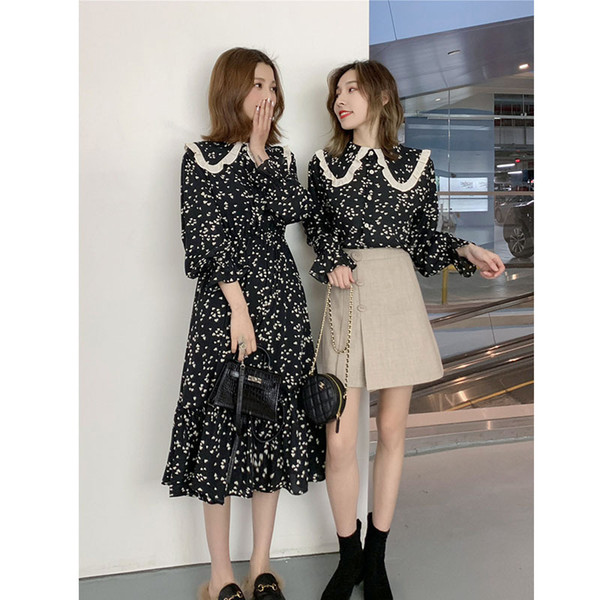 Love2019 Network Red With Spring Clothes Product Bestie. A Doll Lead Love Printing Jacket Dress Long Sweet
