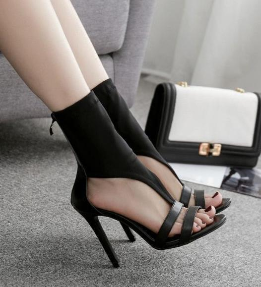 Charm2019 Chic Black Elastic Cloth Open Toe Ankle Bootie Women Designer High Heel Dress Shoes To