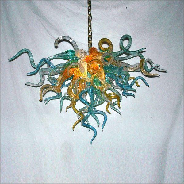 Soplado del estilo de Tiffany de la mano de techo Lámparas de techo de luminarias decorativas de cristal de Murano luces pendientes para la decoración de la cocina