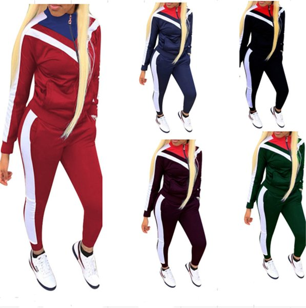 Women's Patchwork Tracksuit Zipper Jacket + Pants 2 Piece Joggers Set Autumn Spring Outfits Long Sleeve Striped Stand Collar Sportswear NEW