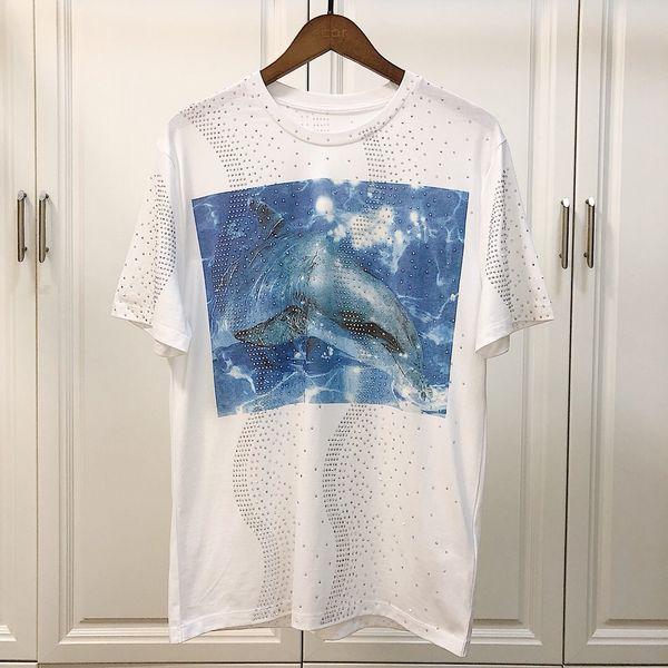 2019 Men\'s Blue dolphin Funny Cotton T Shirts Unisex Summer Workout Tshirts Women Hip Hop Tops