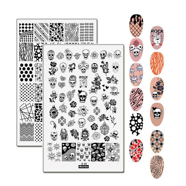 2 Unids Set de Plantillas para Placas de Estampado de Uñas 9.5 * 14.5 cm Tamaño Grande Cráneo Leopardo Amor Imagen de Corazón Estampado Estampado de Estampado para Arte de Uñas