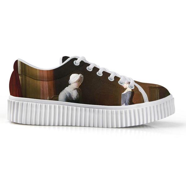 2019 New Listing Women's Low Top Platform Canvas Shoes Female Fashion No Slip Flats Customizable Shoe3D Beautiful Portrait Print