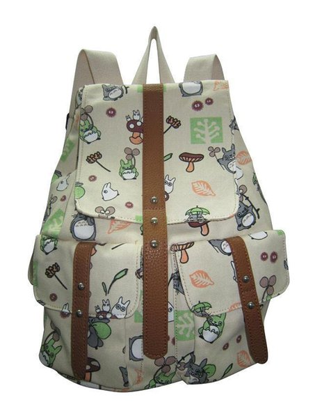 best selling 327#A Seven color My neighbor totoro backpack canvas bag printing leisure shopping shoulders female boy backpack bag