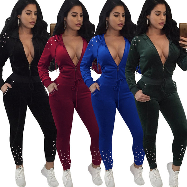 62840e3859 2019 New Women New Long Sleeve Beading Pearls Velvet Hooded Zip Open  Sweatshirts Pencil Long Pants 2 Pieces Sets Sports Tracksuit S-XL