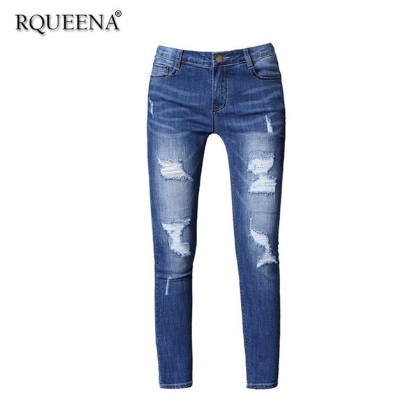Rqueena 2019 Spring New Women's Jeans Blue Womens Fashionable Ripped Woman Pencil Denim Jeans Pants For Women Large Size JE001