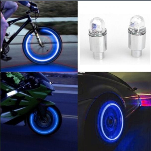 New arrival 2019 Auto Accessories Bike Supplies Neon Blue Strobe LED Tire Valve Caps-2PC ciclismo lights #50 #338286
